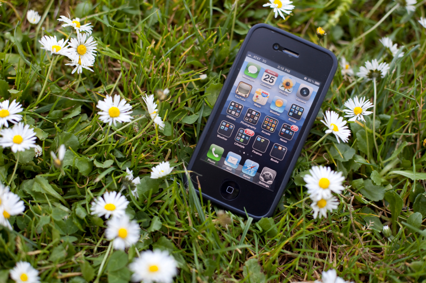 iPhone in grass