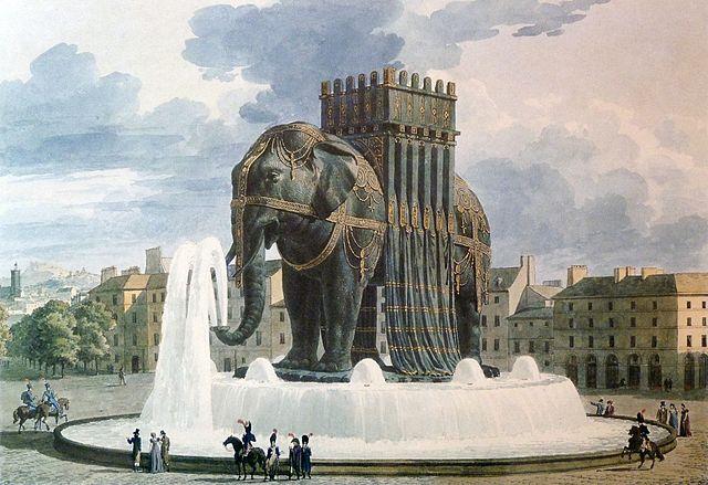 Elephant de la Bastille aquarelle de Jean Alavoine. Public domain via Wikimedia Commons.