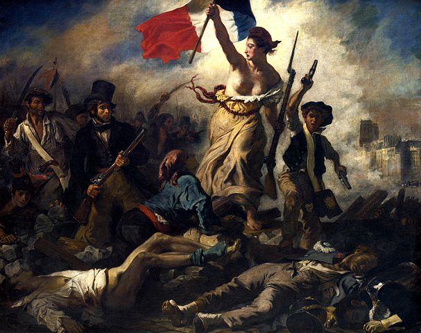 La Liberté guidant le peuple by Eugène Delacroix, 1830. Public domain via Wikimedia Commons