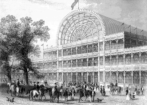 The front entrance of the Crystal Palace, Hyde Park, London that housed the Great Exhibition of 1851, the first World's Fair.