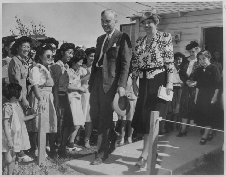 Eleanor Roosevelt at Gila River, Arizona at Japanese, American Internment Center, 23 April 1943.