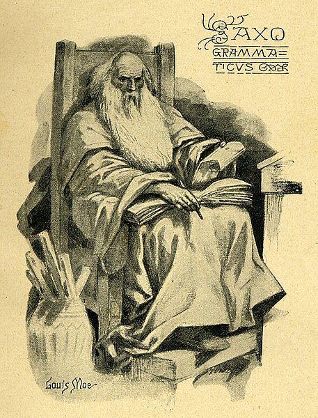Iconographie de l'historien danois Saxo Grammaticus par le dessinateur et peintre Louis Moe. Public domain via Wikimedia Commons.