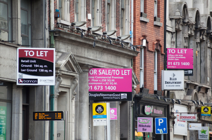 Rent signs in Dublin's business district