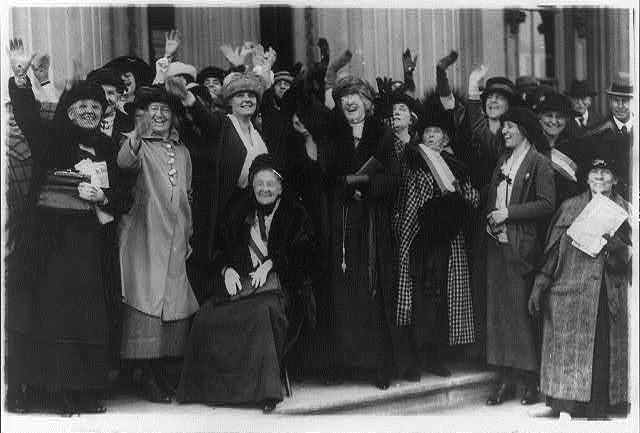 Mrs. Rebecca L. Felton being greeted by prominent political women in Washington, D.C., November 20 1922.