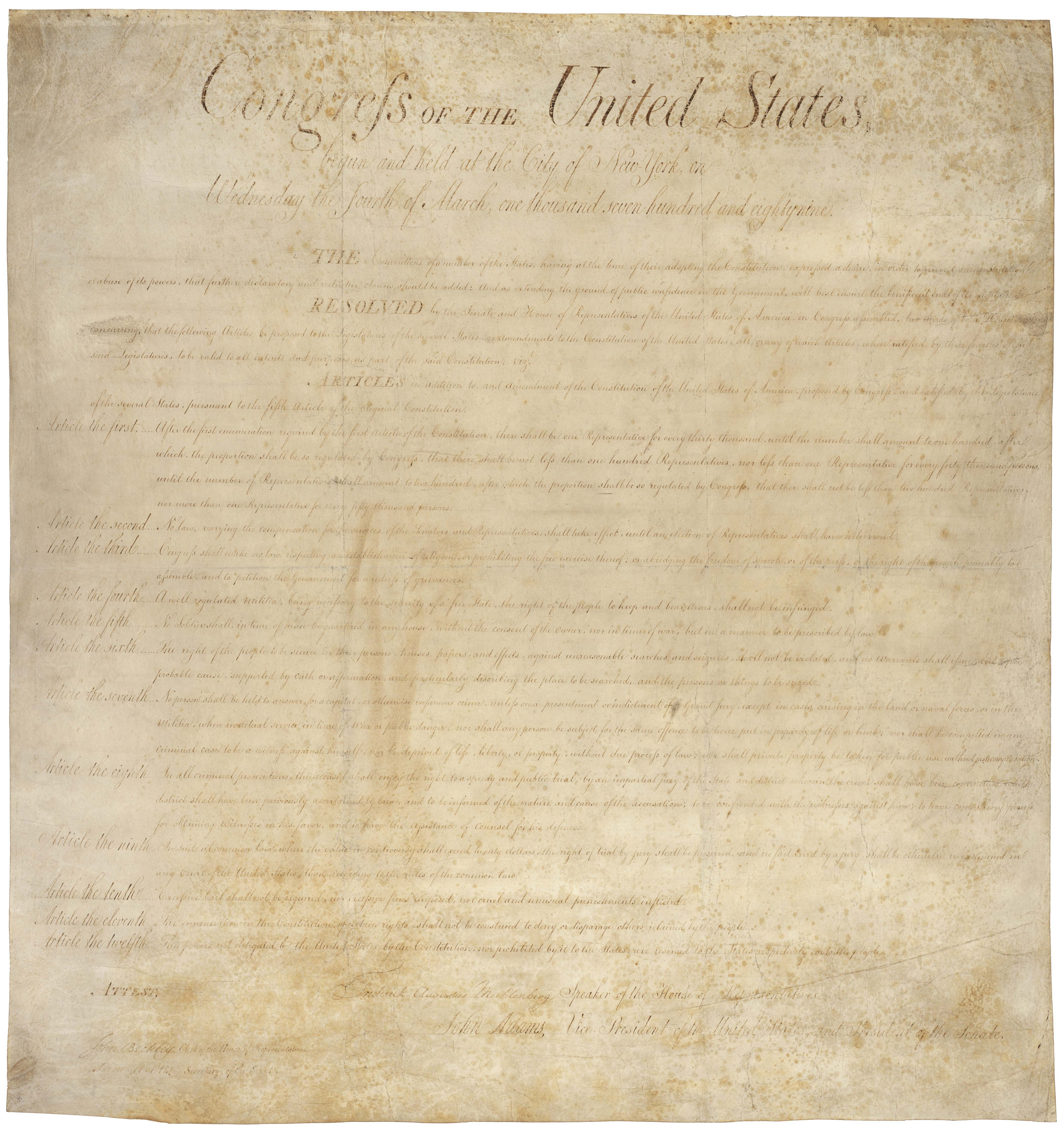 The Bill of Rights, 1791