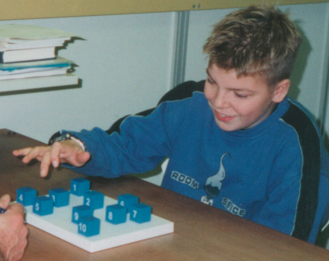 Child performing a memory test (Faroe Islands)