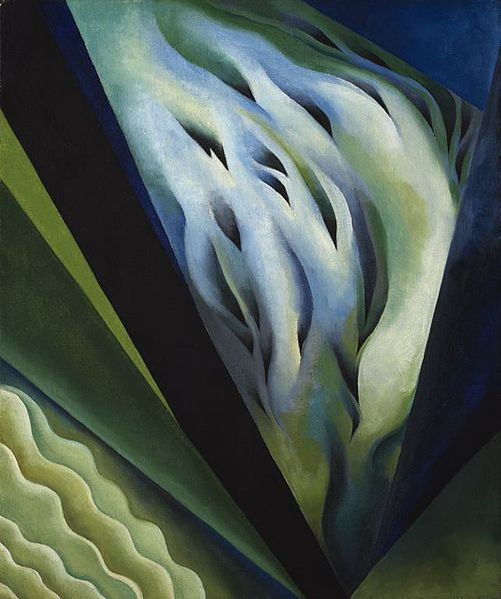 Blue and Green Music by Georgia O'Keeffe, 1921. Public domain via Wikimedia Commons.