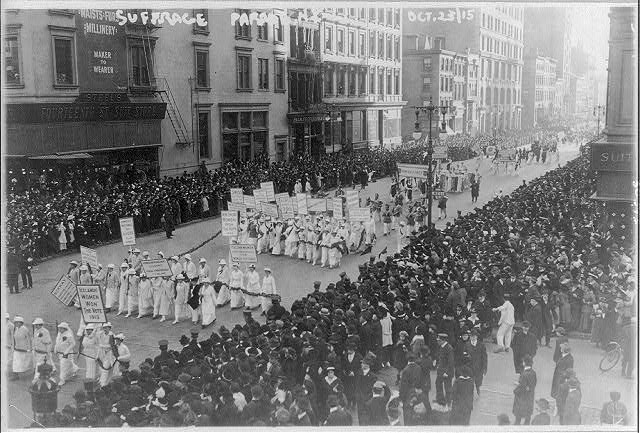 Pre-election parade for suffrage in NYC, Oct. 23, 1915