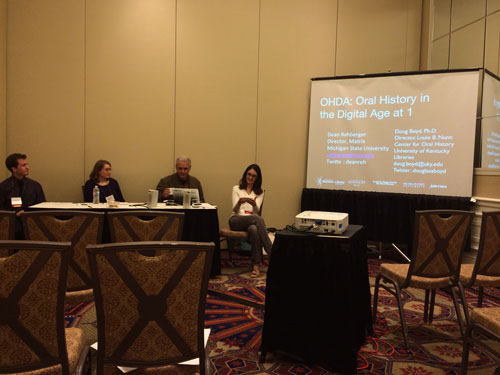 OHA Annual Meeting Session 8. 4 participants (left - right): John Yackulics, Michelle Holland, Dean Rehberger and Jennifer Abraham Cramer. Photo courtesy of Steven Sielaff.