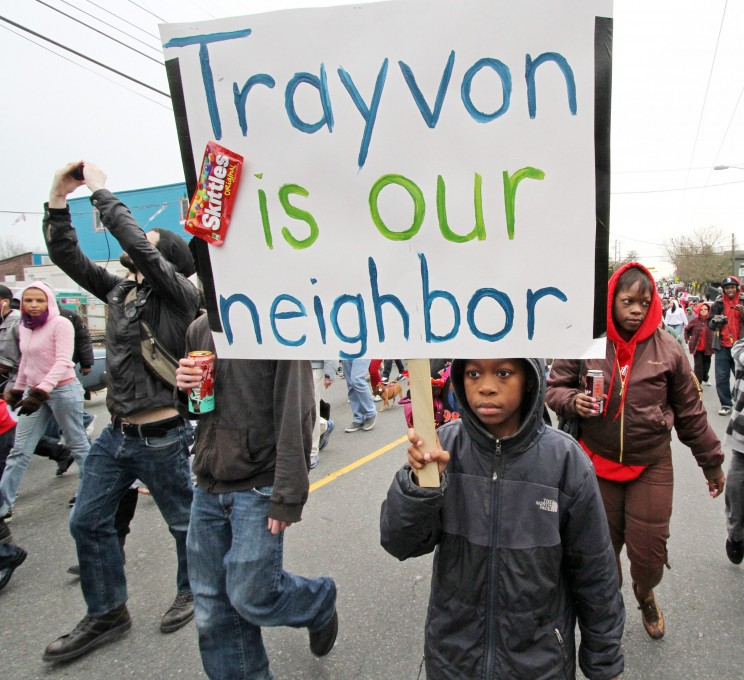 A rally in protest of the Trayvon Martin verdict. Photo: Greg Gilbert / The Seattle Times