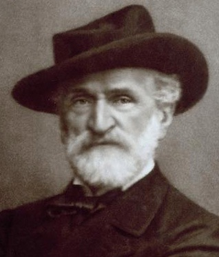 Giacomo Brogi (1822-1881), Portrait of Giuseppe Verdi (cropped). Work in the public domain, via Wikimedia Commons.