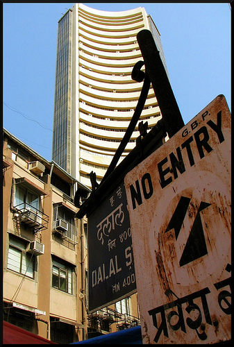 No entry to Indian Economy. No entry to the street where the famous Bombay Stock Exchange stands. Photo by Prem Anandh. Creative Commons License via Prem Anandh P Flickr.