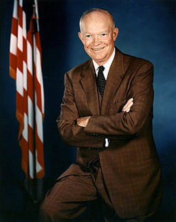 Dwight D. Eisenhower official photo portrait, July 1956. Photo by the Executive Office of the President of the United States. Public domain via Wikimedia Commons.