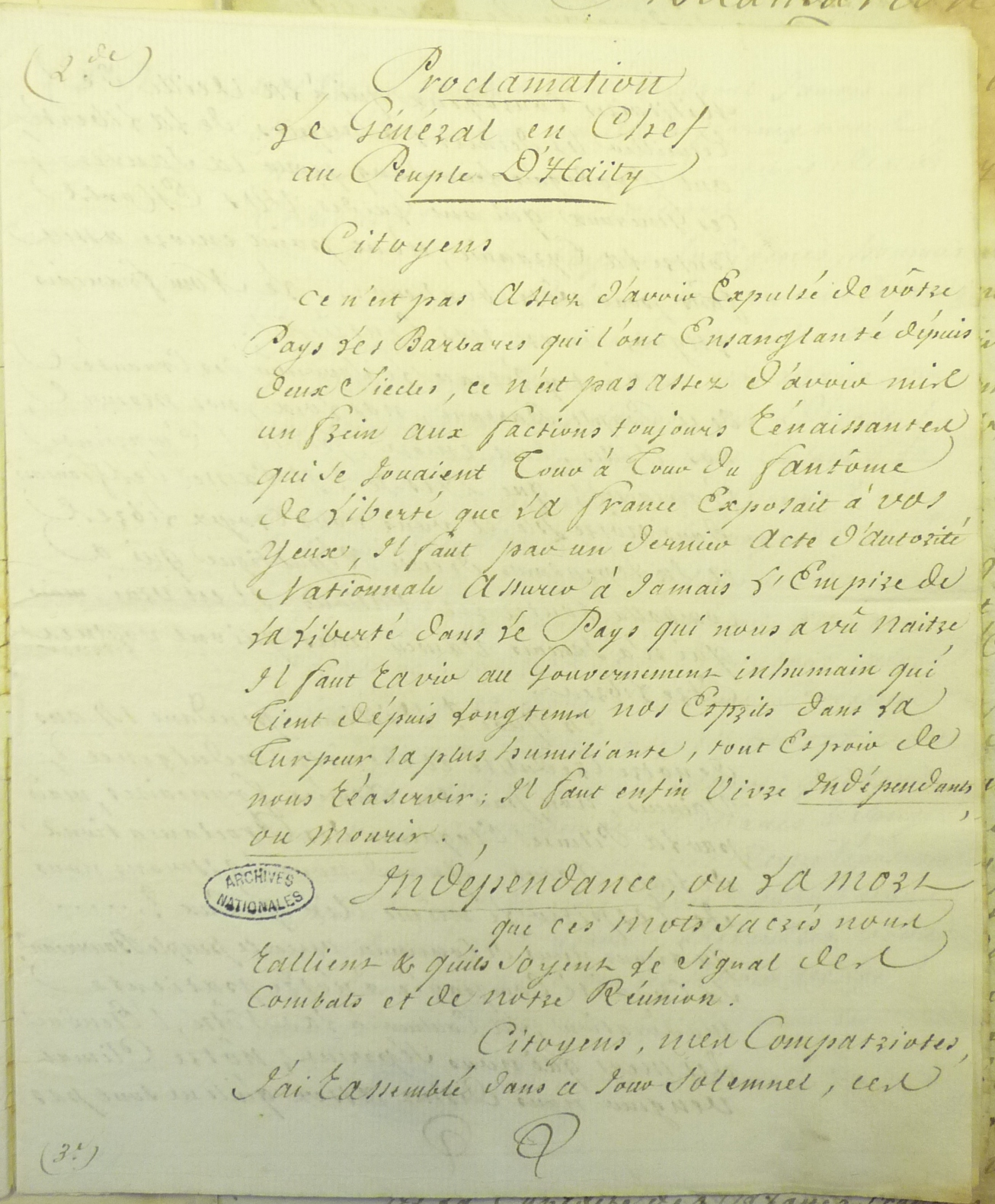 Manuscript of Haitian declaration of independence
