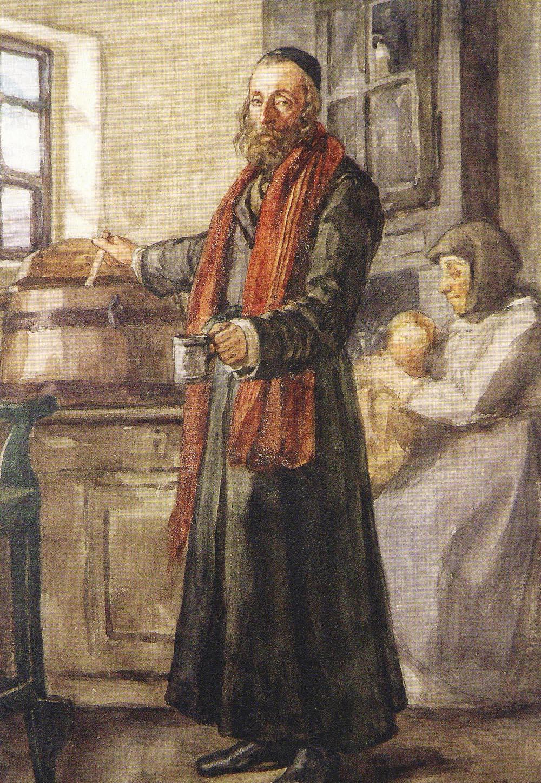 """Henryk Rodakowski, """"Karczmarz Jasio,"""" z cyklu Album Pałahickie, 1867, akwarela na papierze, 32 x 23 cm."""