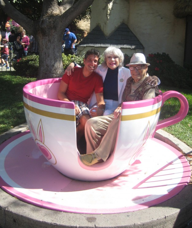 Author Eddie Shapiro, Carol Channing, and her husband Harry at Disneyland. Photo courtesy of Eddie Shapiro.