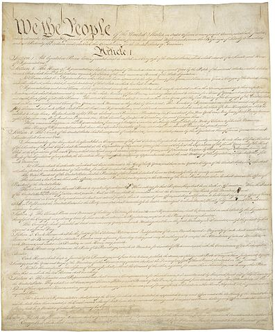 Constitution of the United States of America. Public Domain via Wikimedia Commons.