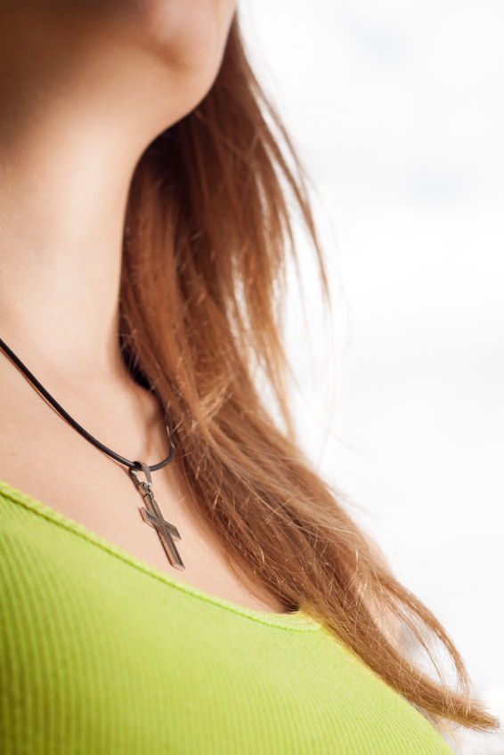 Christian woman with cross necklace