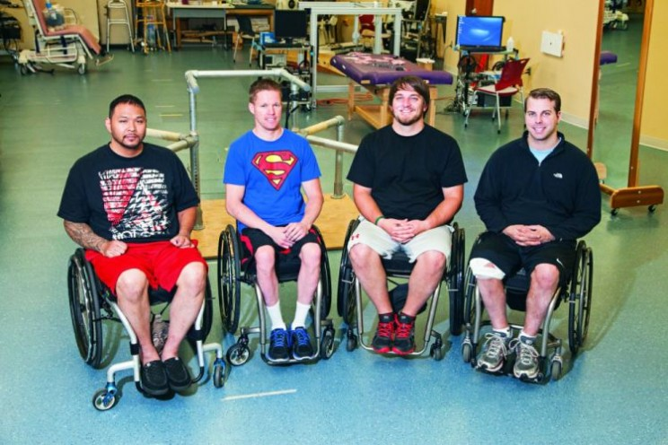 Left to right is Andrew Meas, Dustin Shillcox, Kent Stephenson and Rob Summers, the first four to undergo task-specific training with epidural stimulation at the Human Locomotion Research Center laboratory, Frazier Rehab Institute, as part of the University of Louisville's Kentucky Spinal Cord Injury Research Center , Louisville Kentucky.