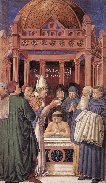 Fresco of Baptism of St Augustine