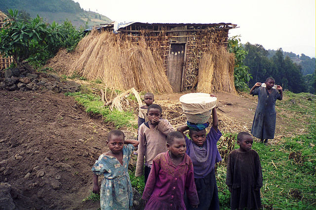 Rwandan Children at Volcans National Park by Philip Kromer. CC BY-SA 2.0 via Wikimedia Commons.
