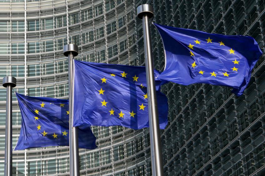 European Union flags in Brussels