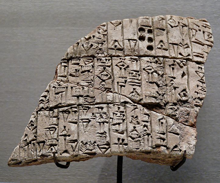 Fragment of an inscripted clay cone of Urukagina (or Uruinimgina), lugal (prince) of Lagash. circa 2350 BC. terracotta. Musée du Louvre. Photo by Marie-Lan Nguyen. Public domain via Wikimedia Commons.