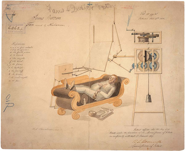 In the 1830s, Virginia inventor (and US Naval Commodore) James Barron patented his mechanically powered punkah as a ''machine for fanning bed chambers, dining rooms, halls, &c.'' (National Archives, Records of the Patent and Trademark Office).