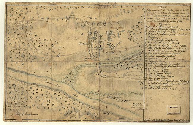 Sketch of the Battle of Trenton by Andreas Wiederholt (b. 1752?). Public domain via Wikimedia Commons.