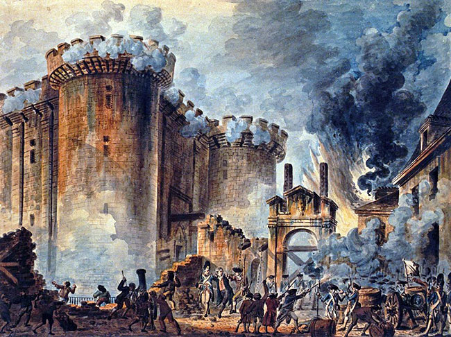 The Storming of the Bastille by Jean-Pierre Houël (1735-1813). Bibliothèque nationale de France. Public domain via Wikimedia Commons.