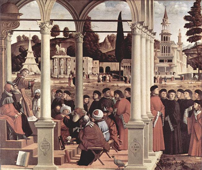 Disputa di Santo Stefano fra i Dottori nel Sinedrio by Vittore Carpaccio [Public domain or Public domain], via Wikimedia Commons