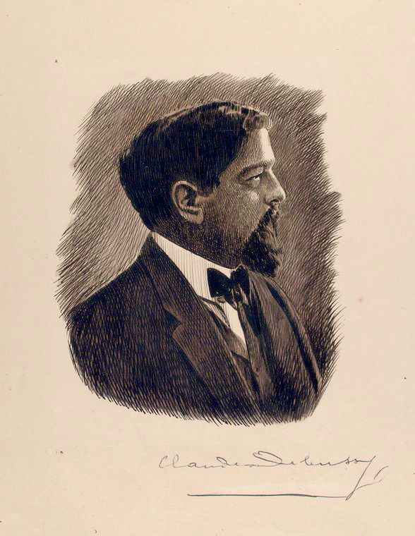 Claude Debussy. Ink drawing by Joseph Muller. Digital ID: 1147651. New York Public Library.