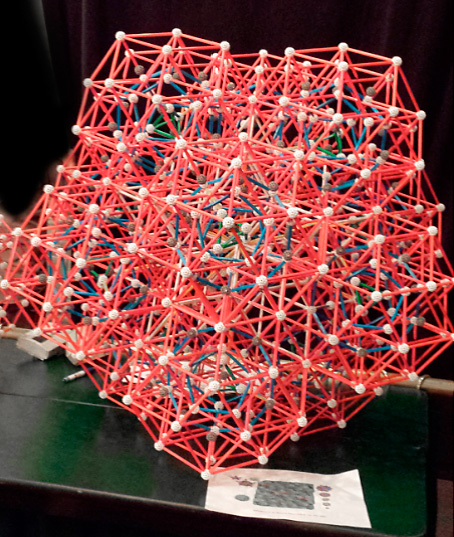 Figure 4. A model of an actual non-repeating crystal structure  made with Zome Tools by my students at the Park City Mathematics Institute, July 2014. Though aperiodic, this pattern of atoms can be extended in space.