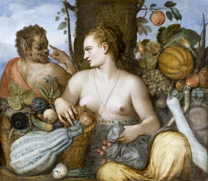 """Vertumnus seducing Pomona in the shape of an old woman. (Pomona by Frans de Vriendt """"Floris"""" (Konstnär, 1518-1570) Antwerpen, Belgien, Hallwyl Museum, Photo by Jens Mohr, via Wikimedia Commons)"""