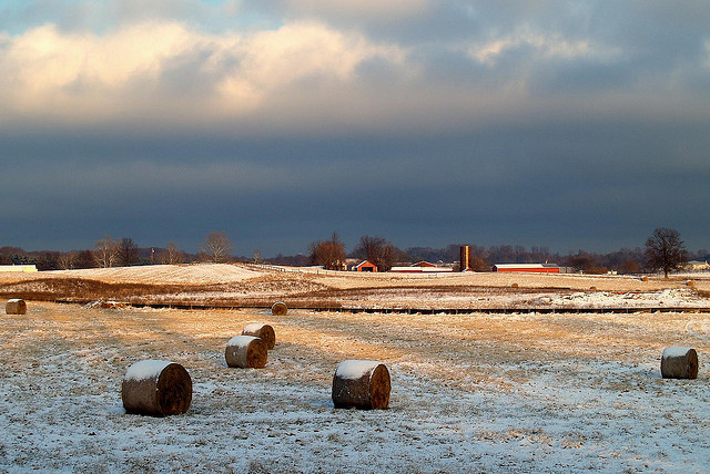 Snow Clouds Over a Snowy Field, Patuxent Hills, Maryland. Photo by Karol Olson. CC BY 2.0 via olorak Flickr.