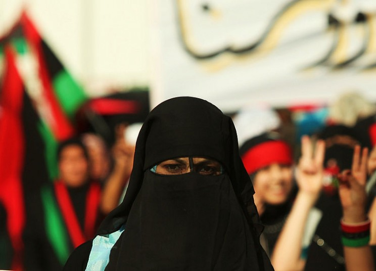 Libyan girl wearing a niqab, by ليبي صح. Public domain via Wikimedia Commons