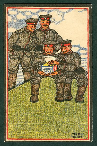 Änne Koken, color lithographic postcard (Feldpostkarte) designed for the H. Bahlsen Keksfabrik, Hannover, ca. November 1914. Public domain via Wikimedia Commons.
