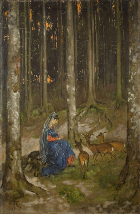 Genoveva in der Waldeinsamkeit by Hans Thoma. Public domain via Wikimedia Commons.