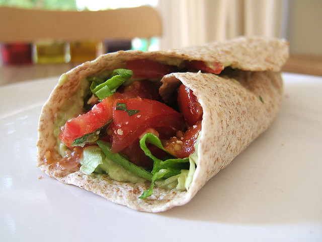 The origin of this wrap is  known only too well.  (Lunchtime salad wrap. Photo by Jessica Spengler. CC BY 2.0 via wordridden Flickr.)