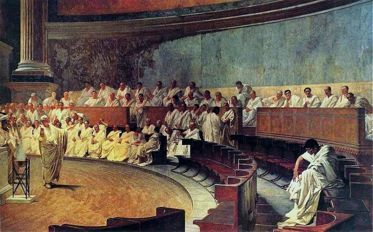 Cicero denounces Catiline, from the Palazzo Madama. Public domain via Wikimedia Commons.
