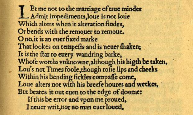 William Shakespeare's Sonnet 116 (© Library of the University of California, Los Angeles).