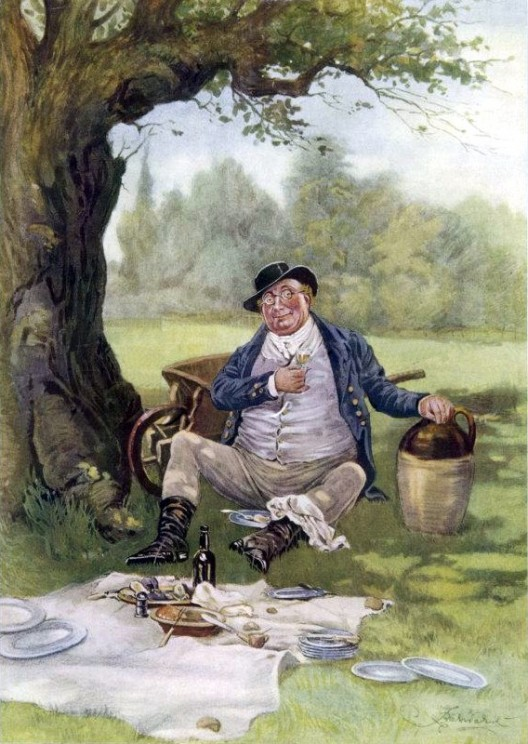 Mr. Pickwick Picnics by Fred Barnard, 1870s. Public domain via Wikimedia Commons.