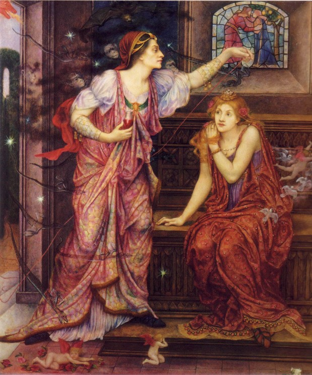 Queen Eleanor & Fair Rosamund by Evelyn de Morgan. Public domain via Wikimedia Commons.