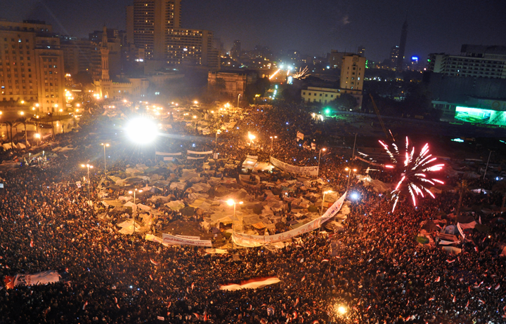 Tahrir Square on February11 by Jonathan Rashad. CC-BY-2.0 via Wikimedia Commons.