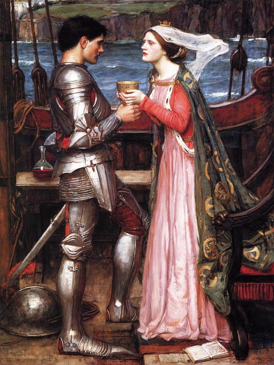 Tristram and Isolde by John William Waterhouse, 1916. Public domain via WikiArt