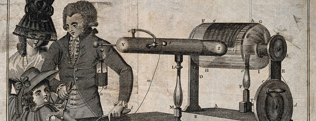 George_Adams_demonstrates_his_electrotherapy_machine_to_a_wo_Wellcome_V0016523