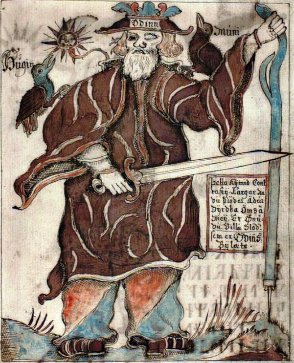 Odin in an eighteenth-century 18th century Icelandic manuscript of the Prose Edda (NKS 1867 4to). Ólafur Brynjúlfsson. Public domain via Wikimedia Commons.