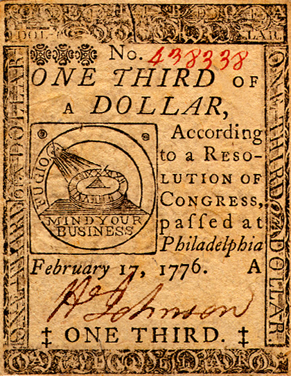 Continental Currency 1/3-Dollar, Obverse by Benjamin Franklin (1706-1790). Public domain via Wikimedia Commons.