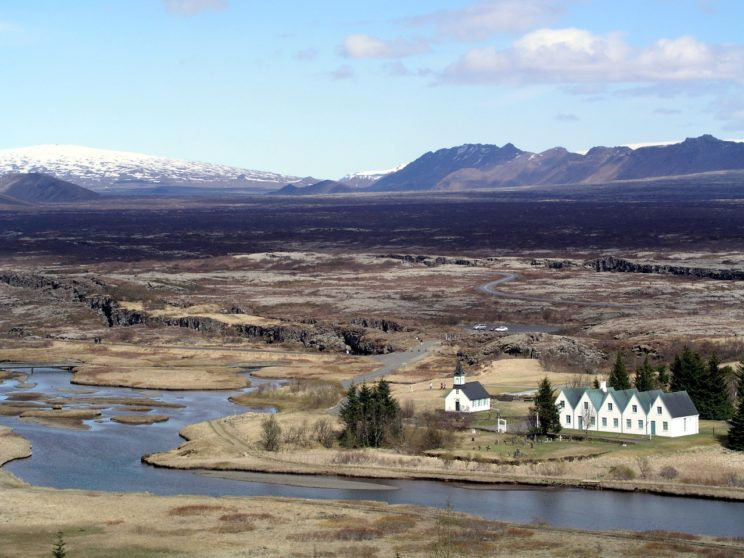 This is a modern view of the place where in the Middle Ages the Icelandic General Assembly was held.