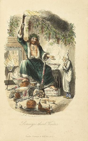 Scrooge's third visitor, from Charles Dickens: A Christmas Carol. Illustration by John Leech. Public domain via Wikimedia Commons.